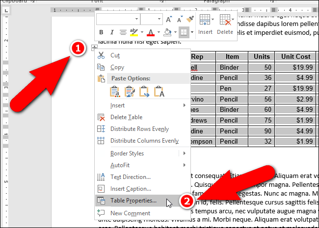 Cara Indent Table di Microsoft Word
