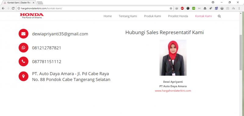 Website Company Profile - Harga Honda Terkini