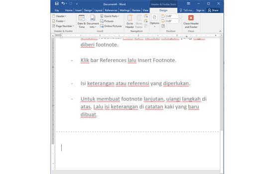 cara membuat footnote untuk