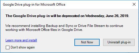 Google Drive Plugin dinonaktifkan